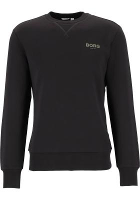 Bjorn Borg logo crew neck sweater, heren trui O-hals normale dikte, zwart