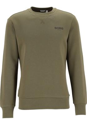 Bjorn Borg logo crew neck sweater, heren trui O-hals normale dikte, olijfgroen