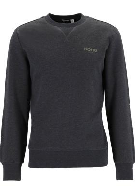Bjorn Borg logo crew neck sweater, heren trui O-hals normale dikte, donkergrijs melange