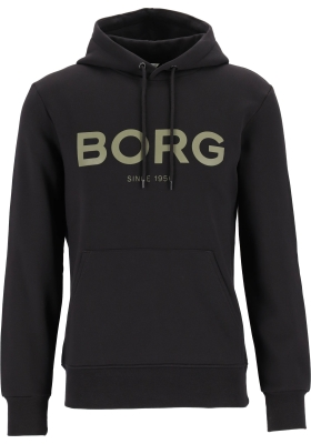 Bjorn Borg logo hoodie sweater, heren trui met capuchon normale dikte, zwart