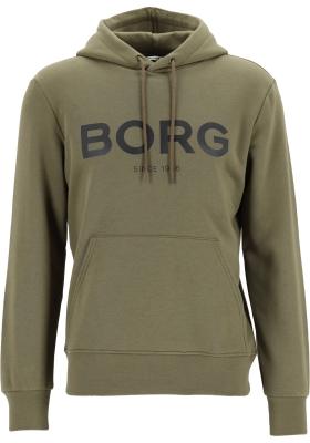 Bjorn Borg logo hoodie sweater, heren trui met capuchon normale dikte, olijfgroen