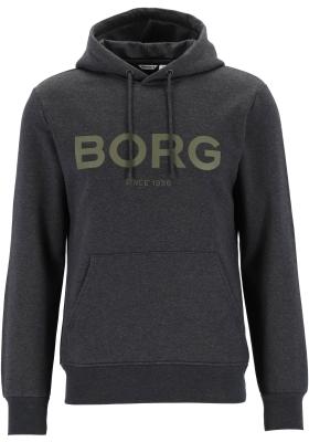 Bjorn Borg logo hoodie sweater, heren trui met capuchon normale dikte, donkergrijs melange