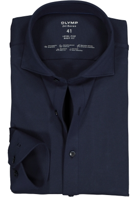 OLYMP Level 5 24/Seven body fit overhemd, marine blauw tricot