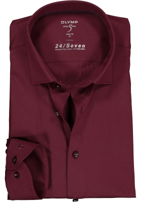 OLYMP Level 5 24/Seven body fit overhemd, bordeaux rood tricot