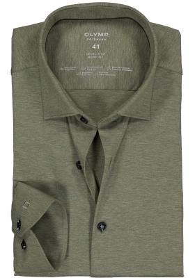 OLYMP Level 5 24/Seven body fit overhemd, olijfgroen tricot