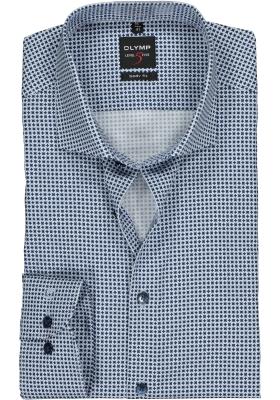 OLYMP Level 5 body fit overhemd, licht- met donkerblauw dessin