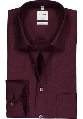 OLYMP Luxor comfort fit overhemd, bordeaux rood structuur (contrast)