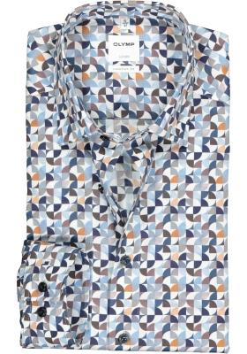 OLYMP Luxor comfort fit overhemd, blauw met bruin en wit retro dessin