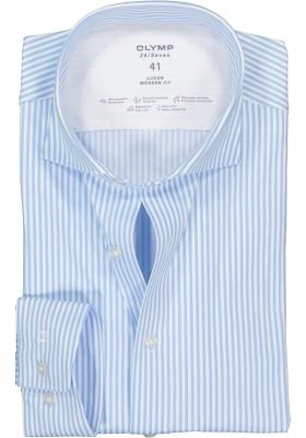 OLYMP Luxor 24/Seven modern fit overhemd, lichtblauw met wit gestreept tricot (contrast)