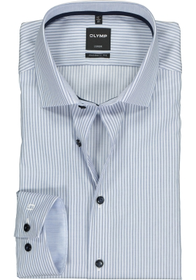 OLYMP Luxor modern fit overhemd, mouwlengte 7, blauw met wit gestreept 2-ply (contrast)
