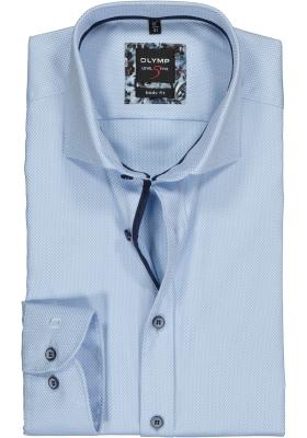 OLYMP Level 5 body fit overhemd, lichtblauw 2-ply structuur
