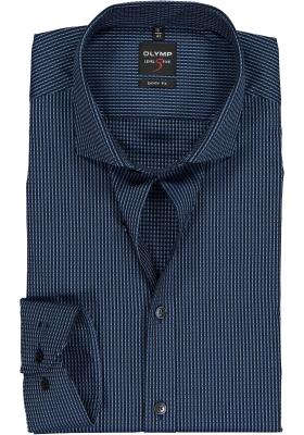 OLYMP Level 5 body fit overhemd, mouwlengte 7, blauw structuur