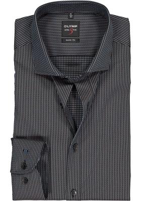 OLYMP Level 5 body fit overhemd, mouwlengte 7, bruin met blauw structuur
