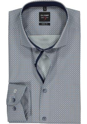 OLYMP Level 5 body fit overhemd, mouwlengte 7, blauw met wit en camel dessin (contrast)