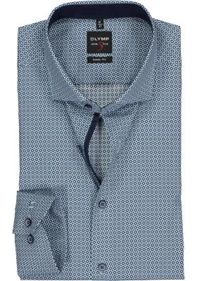 OLYMP Level 5 body fit overhemd, mouwlengte 7, blauw met wit en groen dessin (contrast)