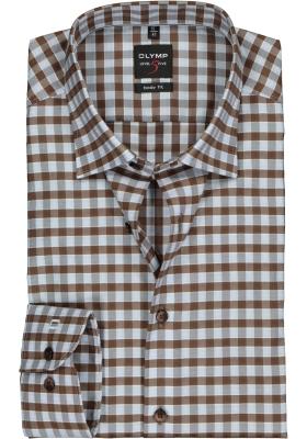 OLYMP Level 5 body fit overhemd, bruin met lichtblauw geruit