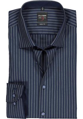 OLYMP Level 5 body fit overhemd, blauw met atraciet gestreept (contrast)
