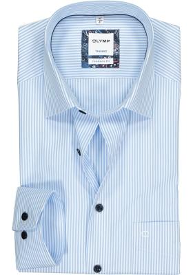 OLYMP Tendenz modern fit overhemd, lichtblauw met wit gestreept