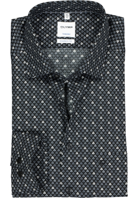 OLYMP Tendenz modern fit overhemd, zwart met grijs en wit dessin