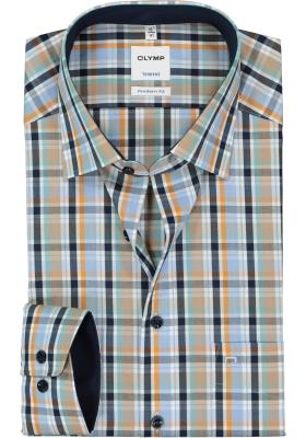 OLYMP Tendenz modern fit overhemd, blauw, groen, camel geruit (contrast)