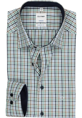 OLYMP Tendenz modern fit overhemd, groen, blauw, bruin geruit (contrast)