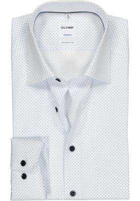 OLYMP Tendenz modern fit overhemd, lichtblauw met wit rondjes dessin