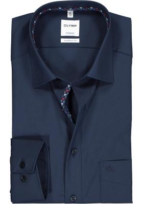 OLYMP Tendenz modern fit overhemd, donkerblauw  (contrast)