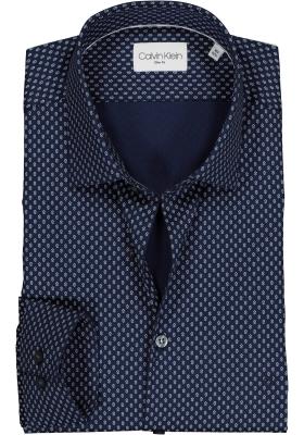 Calvin Klein slim fit overhemd, twill, blauw met wit dessin