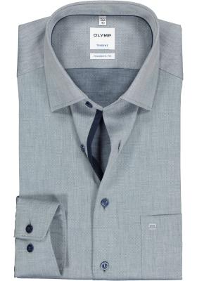 OLYMP Tendenz modern fit overhemd, donkerblauw structuur (contrast)