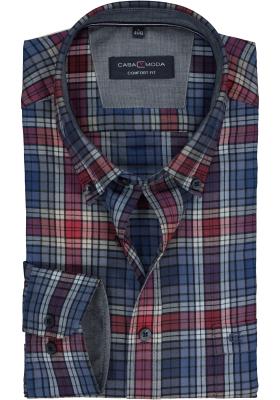 CASA MODA Sport comfort fit overhemd, rood met wit en blauw twill geruit (contrast)
