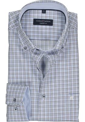 CASA MODA comfort fit overhemd, wit met lichtblauw en bruin geruit structuur (contrast)