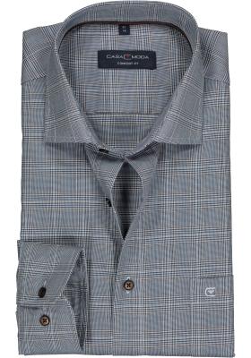 CASA MODA comfort fit overhemd, blauw, wit en bruin Prince de Galles poplin geruit