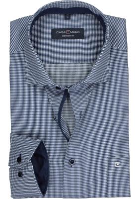 CASA MODA comfort fit overhemd, donkerblauw met wit geruit structuur (contrast)