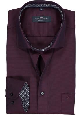 CASA MODA comfort fit overhemd, bordeaux rood structuur (contrast)