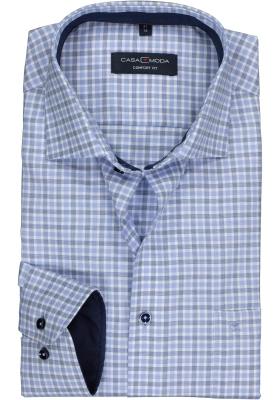 CASA MODA comfort fit overhemd, lichtblauw geruit structuur (contrast)