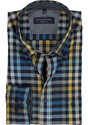 CASA MODA Sport comfort fit overhemd, blauw met geel en wit geruit twill (contrast)