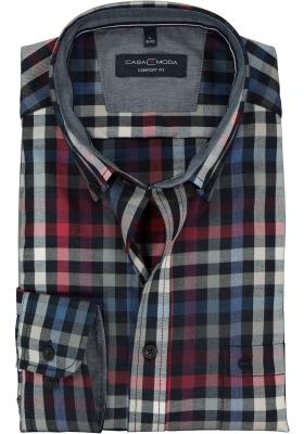 CASA MODA Sport comfort fit overhemd, rood met wit en blauw geruit twill (contrast)