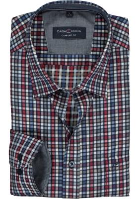 CASA MODA Sport comfort fit overhemd, rood, wit en blauw geruit twill (contrast)