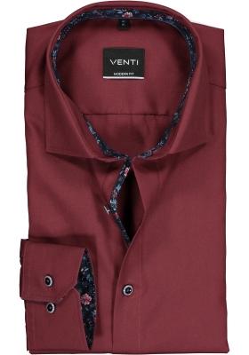 VENTI modern fit overhemd, bordeaux rood poplin (contrast)