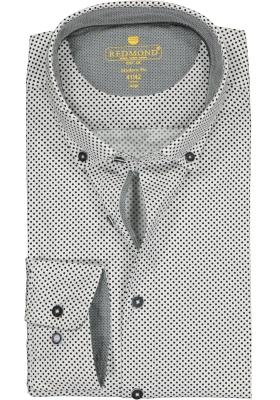 Redmond modern fit overhemd, poplin, wit met zwart gestipt (contrast)