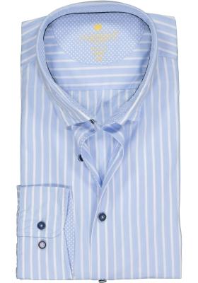 Redmond modern fit overhemd, poplin, lichtblauw met wit gestreept (contrast)
