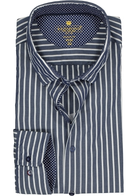 Redmond modern fit overhemd, poplin, donkerblauw met wit gestreept (contrast)
