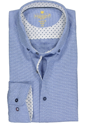 Redmond modern fit overhemd, dobby structuur, blauw met wit mini dessin (contrast)