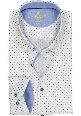 Redmond modern fit overhemd, poplin, wit met blauw mini dessin (contrast)