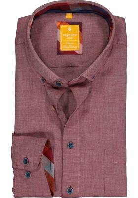 Redmond modern fit overhemd, Oxford, bordeaux rood (contrast)