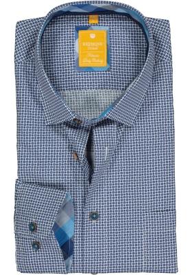 Redmond modern fit overhemd, poplin, blauw met wit en grijs dessin (contrast)