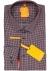 Redmond modern fit overhemd, poplin, bordeaux met blauw en wit dessin (contrast)