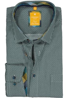 Redmond modern fit overhemd, poplin, groen met blauw en wit dessin (contrast)