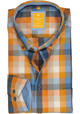 Redmond modern fit overhemd, poplin, blauw met oranje geruit (contrast)