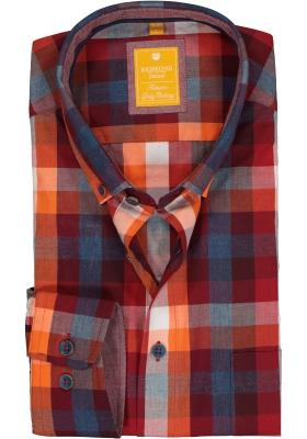 Redmond modern fit overhemd, poplin, blauw met bordeaux en oranje geruit (contrast)